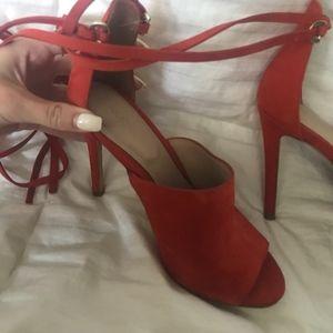 Aldo Shoes - Aldo Suede Lace Up Heel Red Size 6